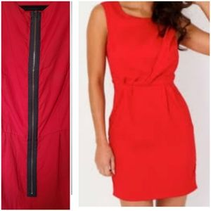 Topshop red dress with exposed zipper detail